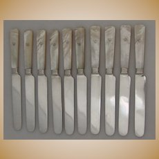Mother of Pearl Coin Silver Dessert Knives 10 Albert Coles 1860