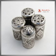Persian 4 Antique Spice Shakers 900 Silver 1900