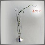 Vintage Sterling Silver and Etched Glass Tall Bud Vase Web 1950
