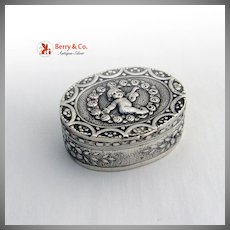 Vintage Italian 800 Silver Pill Box Cupid Decorations