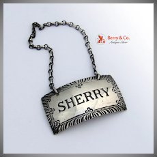 Sherry Bottle Tag Stieff Williamsburg Sterling Silver 1950