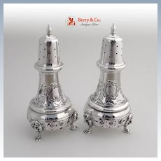 Ornate Salt and Pepper Shakers Sterling Silver Lion Feet