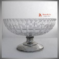 American Brilliant Cut Glass Hawkes Sterling Footed Lead Crystal Bowl 63 PWTS