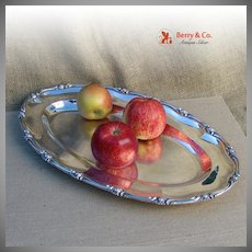Floral Wave Edge Large Oval Serving Tray Sterling Silver 1790