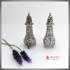 Repousse Rose Salt and Pepper Shaker Sterling Silver Stieff