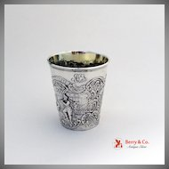Continental Silver Beaker Happy Village People Repousse