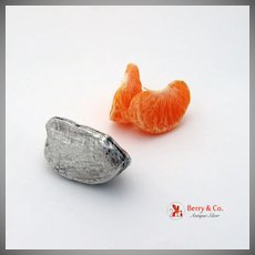Figural Almond Pill Box Sterling Silver
