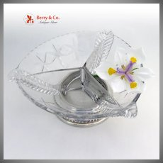 Sectional Cut Glass and Sterling Serving Bowl
