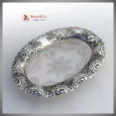 Cut Glass Sterling Silver Dish Floral Open Work 1898 Birmingham