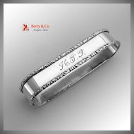William and Mary Napkin Ring Lunt Sterling Silver HJG Monogram