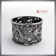 Korean Dragon Napkin Ring Open Scroll Work Sterling Silver 1900 No Monogram
