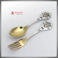 1918 Michelsen Christmas Spoon and Fork Sterling Silver