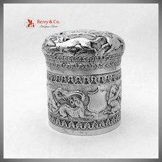 Ornate Box With Animal Repousse Decorations Sterling Silver 1900