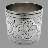 Coin Silver Napkin Ring Engine Turned Engraved 1880