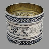 Ivy Coin Silver Napkin Ring Ornate Rims 1880 OM