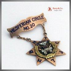 Druids of California Hesperian Circle 20 Multicolored 14K Gold Diamond  Medal 1927