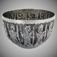 Figural Bowl 12 Apostle Chased Figures 900 Silver