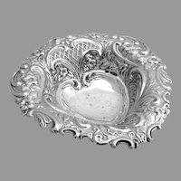 Heart Bowl Repousse Open Work Sheffield 1895 Sterling Silver