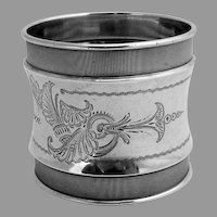Aesthetic Napkin Ring Gorham Lizzie A Green Coin Silver 1865