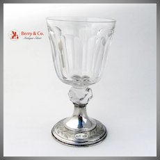 Antique Commemorative 25th Anniversary Cut Crystal and Coin Silver Water Goblet 1863-1888
