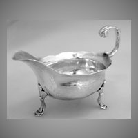 George II Sauce Boat English John Pollock Sterling Silver London 1748