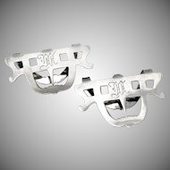 Pair of Napkin Clips Sterling Silver Open Work Designs