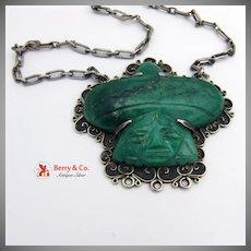 Rafael Melendez Aztec Jade Pendant 980 Sterling Silver 1945