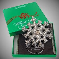 Gorham Christmas Ornament Snowflake Sterling Silver 1981 Box Pouch