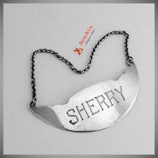 Sherry Bottle Tag Sterling Silver Webster