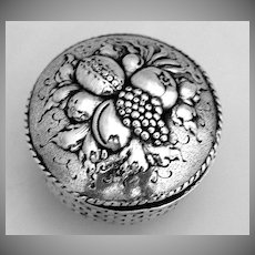 Snuff Pill Box Fruit Basket 800 German Silver Hanau 1890