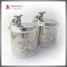 Tankards Sterling Silver Colonial Style Pair