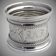 Napkin Ring Engraved Coin Silver 1880