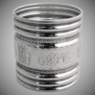Vanderslice Napkin Ring Bright Cut Sterling Silver 1890