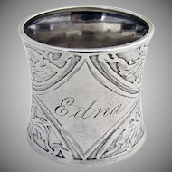 Napkin Ring Acid Etched Sterling Silver 1910