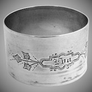 Napkin Ring Engraved Coin Silver 1870