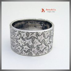 Leaf Pattern Napkin Ring Bright Cut Coin Silver No Monograms