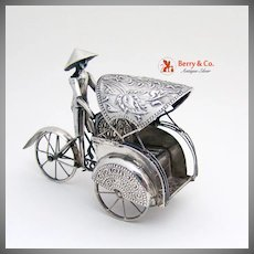 Rickshaw Taxi Toy Moving Parts Sterling Silver 1930