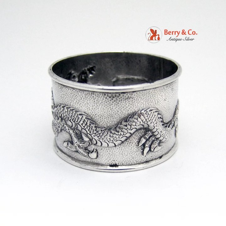 Asia Non-u.s. Silver Dragon Napkin Ring Chinese Export Silver 1910