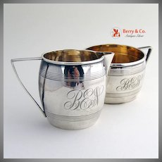 Barrel Shaped Creamer and Sugar Bowl Set Sterling Silver Gilt Dominick and Haff 1884