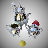 Baroque 3 Piece Coffee Set Wallace Silverplate 1941