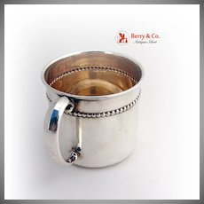 Beaded Cup Mug Reed and Barton Sterling Silver Gilt 1940