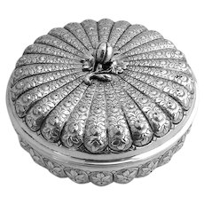 Round Box Large Ornate 800 Silver Italy