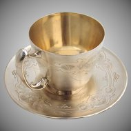Cup and Saucer r Gorham Bright Cut 1873 Sterling Silver