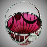 Medallion Basket Coin Silver 1870 Cranberry Glass
