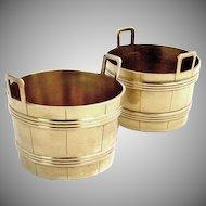 Tiffany Salt Cellars Sterling Silver Gilt Bucket 1890