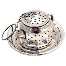 Figural Teapot Tea Ball Underplate Sterling Silver Amcraft 1940