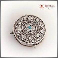 Chinese Tibet Round Box Pendant Chinese Export Silver Lid Brass Bottom 1900