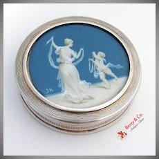 French Dresser Box Hand Painted Cherub Lady Sterling Silver Gilt 1909 - 1936