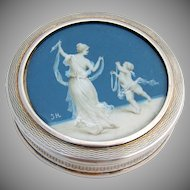 French Dresser Box Hand Painted Cherub Lady Sterling Silver Gilt 1909 - 1936