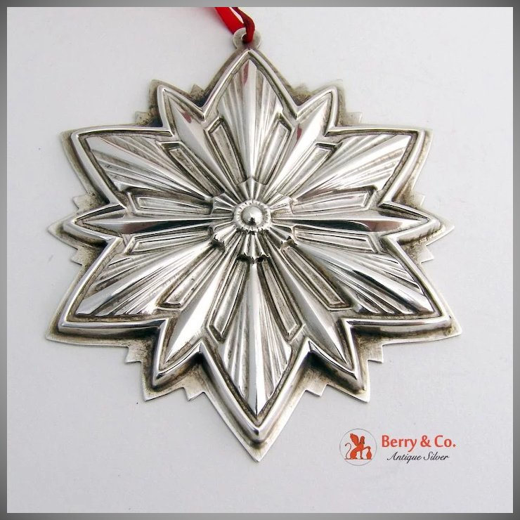 Christmas Ornament 1993 Snowflake Sterling Silver Gorham : Berry & Company  Antique Silver | Ruby Lane - Christmas Ornament 1993 Snowflake Sterling Silver Gorham : Berry